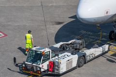 Pushback tractor at Berlin Tegel airport waiting for work royalty free stock photography