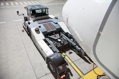 Pushback Truck - Airplane nose Royalty Free Stock Image