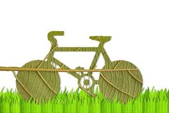 Pushbike from green leave Stock Photo