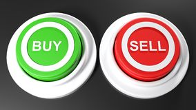 Pushbuttons to buy and sell - 3D rendering. A green pushbutton for buying and a red one for selling - 3D rendering illustration Stock Photo