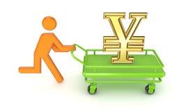 Pushcard с shoping вагонеткой. иллюстрация штока