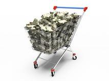 Pushcart da loja com dólares Foto de Stock Royalty Free