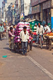 Pushcart Driver With Load In Chawri Bazar, Delhi Early Morning Royalty Free Stock Photo