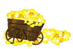 Pushcart and leaves Royalty Free Stock Photo