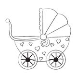 Pushchair with hearts. Stroller for baby riding with hearts Royalty Free Stock Images