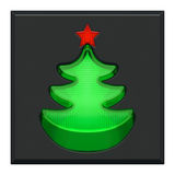 Pushed lighting button with indicator light as green New Year tree with red star. Christmas or New Year holiday creative concept. Pushed lighting green plastic Stock Image