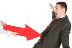 Pushed with red arrow Stock Images
