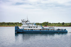 Pusher floats on the river Volga. Russia Royalty Free Stock Photos