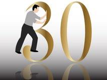 Pushing the 30 th congratulation. A man pushing the 30 th congratulation Stock Image