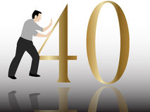 Pushing the 40 congratulation. A man pushing the 40 congratulation Royalty Free Stock Images