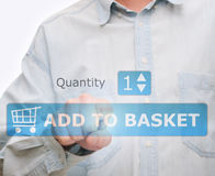Pushing Add to Basket Button Stock Image