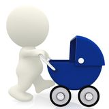 Pushing a baby carriage in 3D Stock Photo