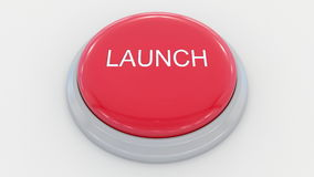 Pushing big red button with launch inscription. Conceptual 4K clip