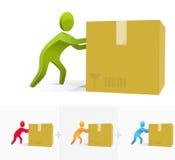 Pushing the box. 3d stick figure pushing hard a big cartoon box Royalty Free Stock Photo