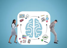 Pushing the brain, men and woman. With graphics and blue background. royalty free illustration