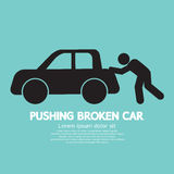 Pushing Broken Car Graphic Symbol. Vector Illustration Stock Photography