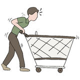 Pushing Broken Shopping Cart Stock Photo