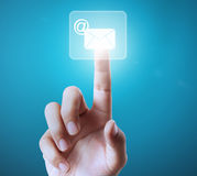 Pushing  button on atouch screen interface Royalty Free Stock Images