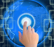 Pushing button power on abstract the world technology Stock Image