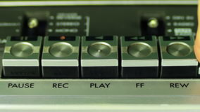 Pushing Button on a Tape Recorder, Play, Stop, Rec stock video footage