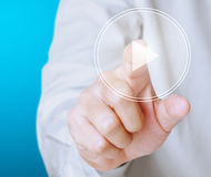 Pushing a button on a touch screen Royalty Free Stock Images