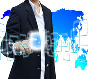 Pushing button on a touch screen interface Royalty Free Stock Photography