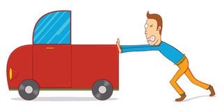 Pushing a car. Illustration of a man pushing a car. Available in vector eps 10 file Stock Photography