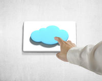Pushing cloud shape button Royalty Free Stock Photo
