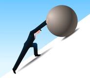Pushing. Conquering Adversity businessman pushing a rock uphill stock illustration