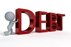 Pushing Debt. A white man pushing the word Debt set against a white background Stock Photo