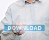 Pushing Download Button Royalty Free Stock Photos