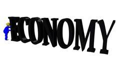 Pushing economy Stock Image