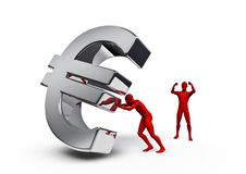 Pushing euro. 3D render of male figure pushing euro symbol with another figure cheering Royalty Free Stock Photos