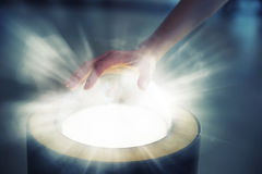 Pushing futuristic glass button royalty free stock photo
