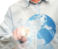 Pushing Globe Icon Stock Photos