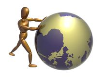 Pushing the globe position Royalty Free Stock Images