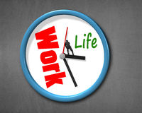 Pushing hand with work life clock face Stock Image