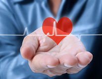 Pushing heart. Medicine doctor working pushing heart stock image