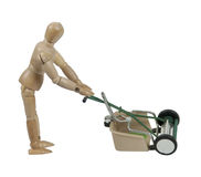 Pushing a Lawn Mower Stock Photo