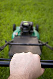 Pushing the Lawn Mower Stock Photos
