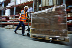 Pushing load. Loader in uniform pushing forklift with packed goods Royalty Free Stock Image