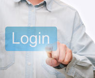 Pushing Login Button Royalty Free Stock Photos