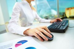 Pushing mouse button Stock Images