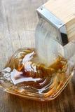 Pushing out gelidium jelly Stock Image