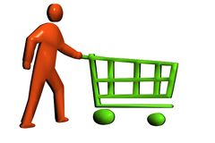 Pushing a retail trolley Stock Images