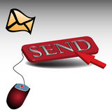 Pushing the send button vector illustration