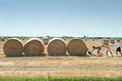 Pushing straw bale Stock Photography