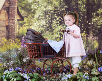 Pushing Teddy Back Home royalty free stock images