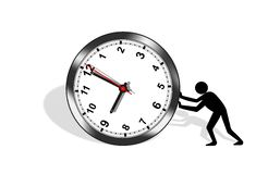 Pushing the time stock image