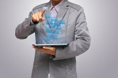 Pushing on a touch screen interface Stock Photos